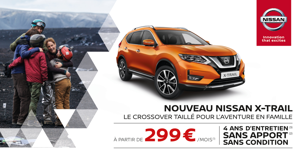 partez l 39 aventure avec nouveau nissan x trail. Black Bedroom Furniture Sets. Home Design Ideas